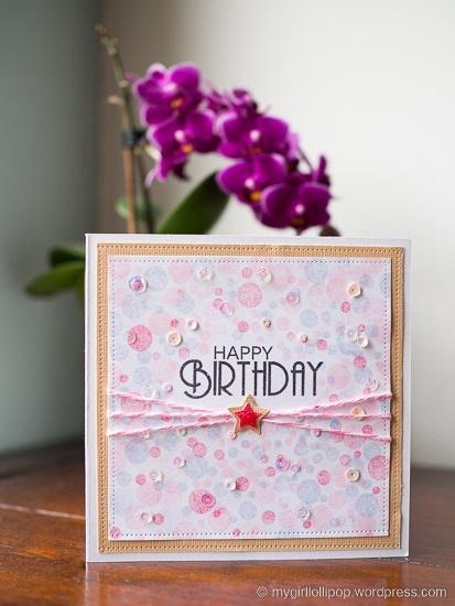 Bokeh stamped background card