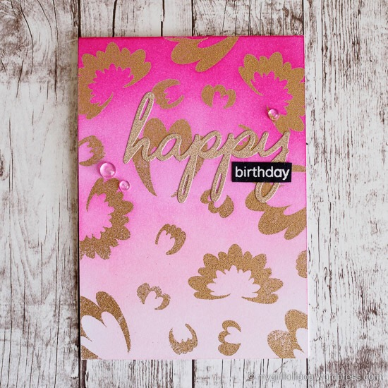 pink ombre and gold embossing